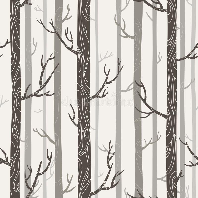 Sömlös textur med träd stock illustrationer