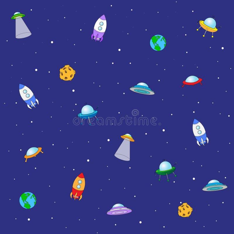 Sömlös textur med utrymmeraket, ufo, jord och månen vektor royaltyfri illustrationer