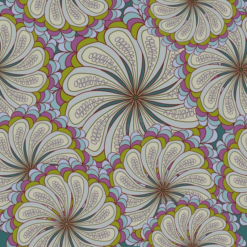 Sömlös textur med utsmyckade blommor och bladet royaltyfri illustrationer