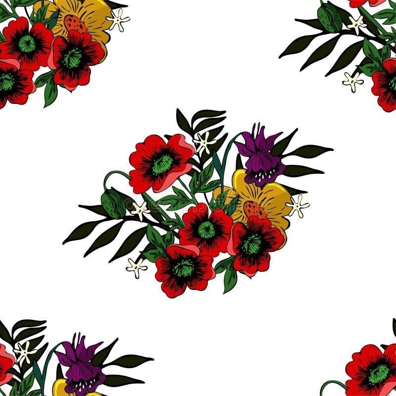 Sömlös textur med vallmo och annan blommavektorbild stock illustrationer