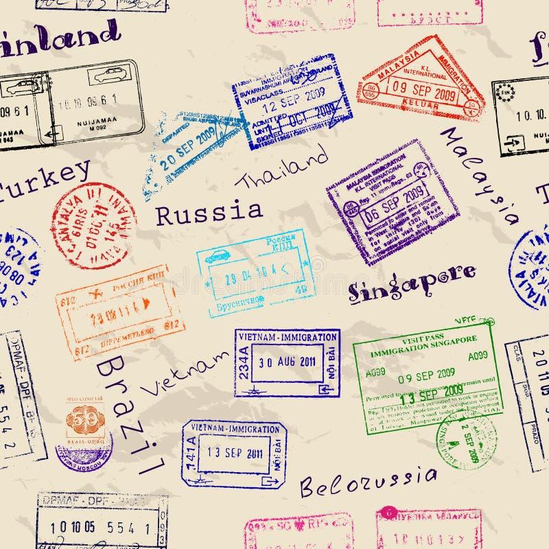 Sömlös textur med verkliga visumstämplar. stock illustrationer