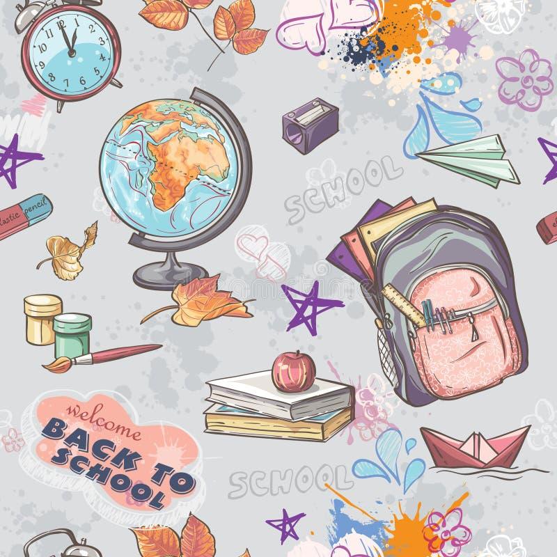 Sömlös textur på ett skolatema med bilden av en ryggsäck, jordklotet, målarfärg och andra objekt vektor illustrationer