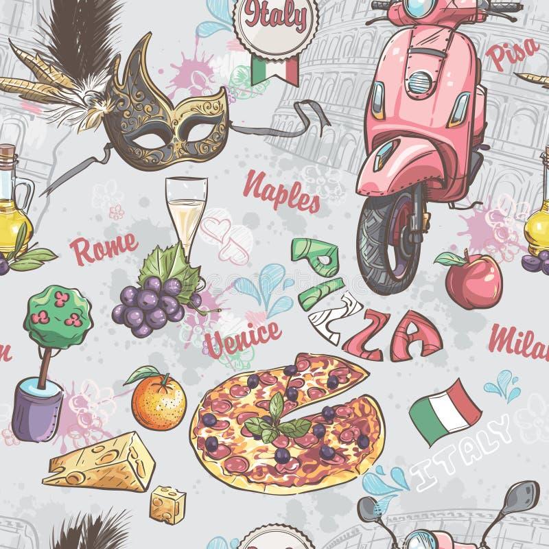 Sömlös textur på Italien Med en bild av mat, frukt, vin, karnevalmaskeringar och annan royaltyfri illustrationer