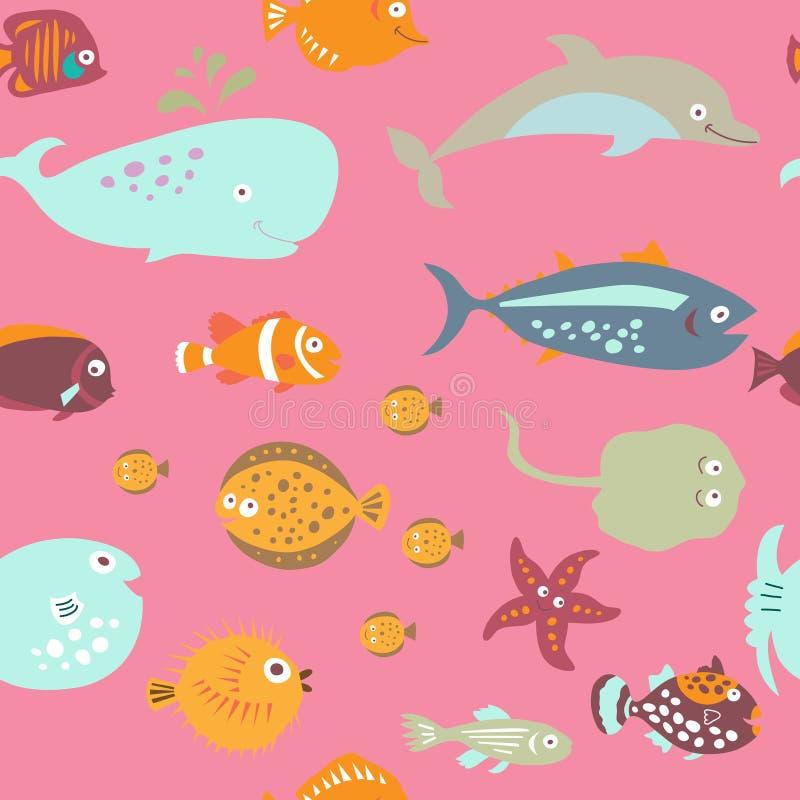 Sömlös textur på marin- tema i stilen för barn` s vektor illustrationer