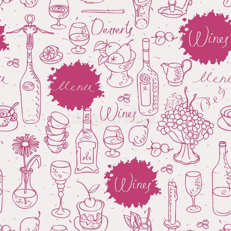 Sömlös textur på vin stock illustrationer