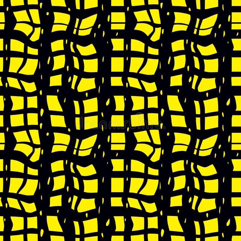Sömlös textur skrynklade guling-svart rutigt tyg stock illustrationer
