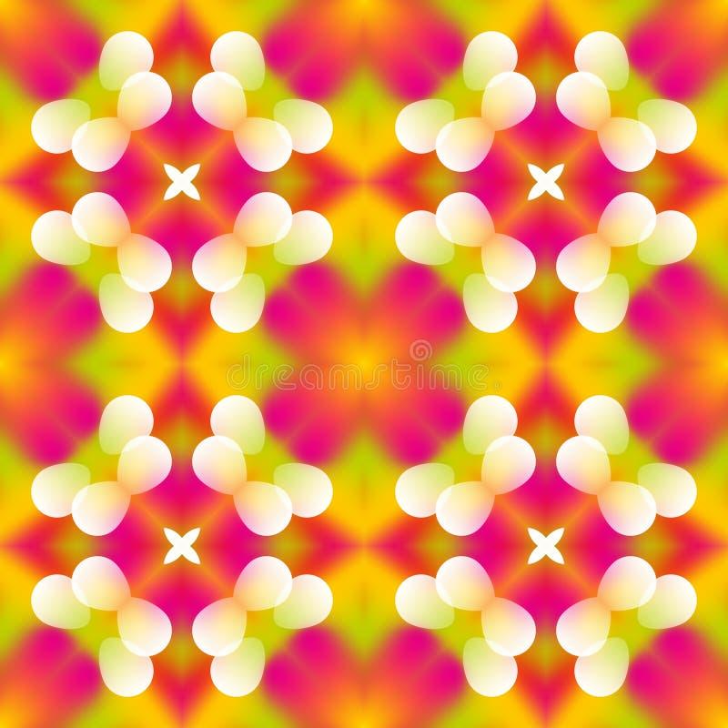 Sömlös texturbakgrund för den mosaiska kalejdoskopet - markera rosa färger, rött, apelsinen och gräsplan som färgas med den vita  royaltyfri illustrationer