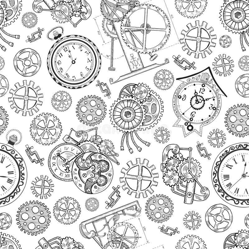 Sömlös texturerad bakgrund med klockor och mekaniska delar på vit royaltyfri illustrationer