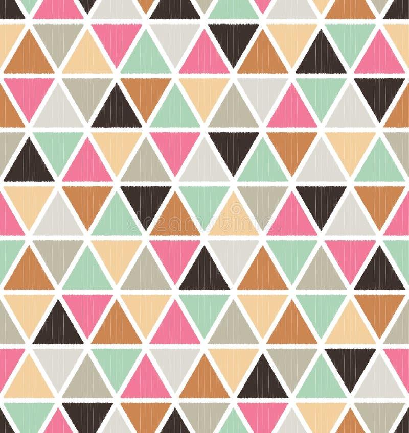 Sömlös texturerad triangeltegelplattamodell royaltyfri illustrationer