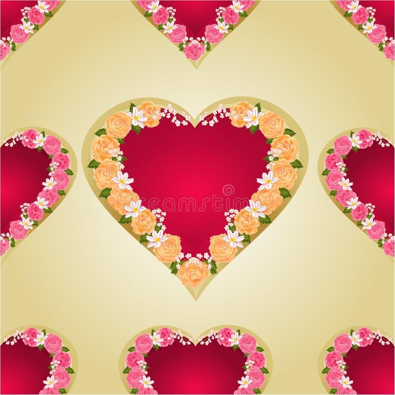 Sömlös texturhjärta med den guld- bakgrundsvektorn för rosor royaltyfri illustrationer