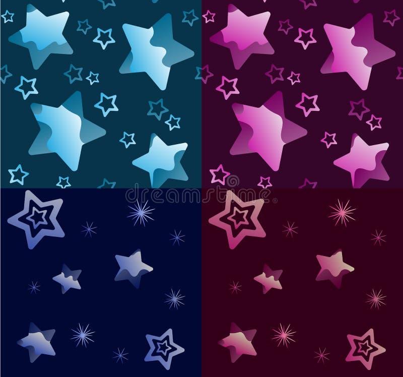 Sömlös texturstjärnamodell i uppsättningen för natthimmel på blått och en bakgrund vektor illustrationer
