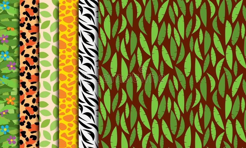 Sömlös, Tileable djungel eller djura Themed bakgrunder för zoo vektor illustrationer