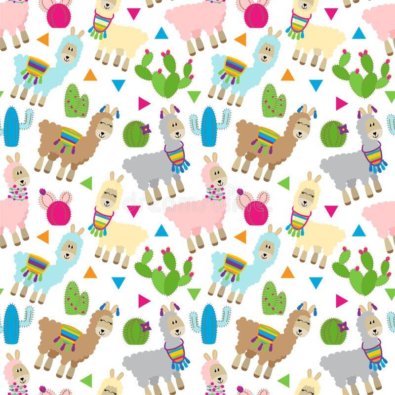 Sömlös, Tileable lama och kaktusmodell stock illustrationer