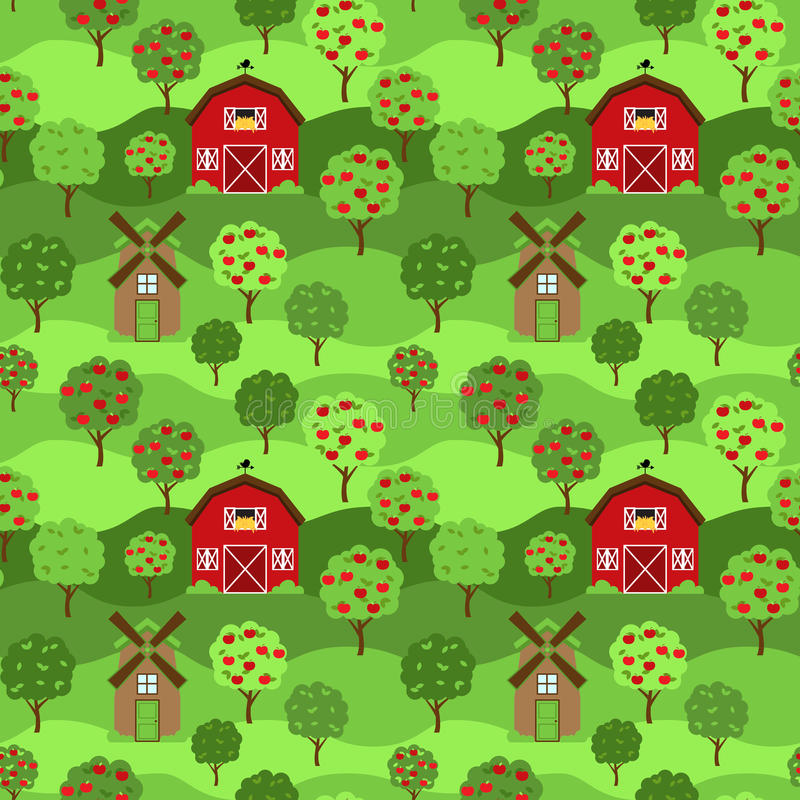 Sömlös, Tileable lantgård eller fruktträdgårdbakgrund royaltyfri illustrationer