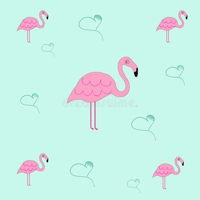 Sömlös tileable textur med flamingo och hjärtor royaltyfri illustrationer