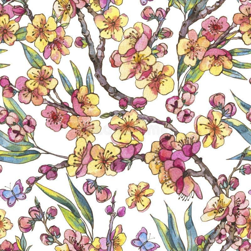 Sömlös träsko för vattenfärgvår, blom- bukett för tappning med b stock illustrationer