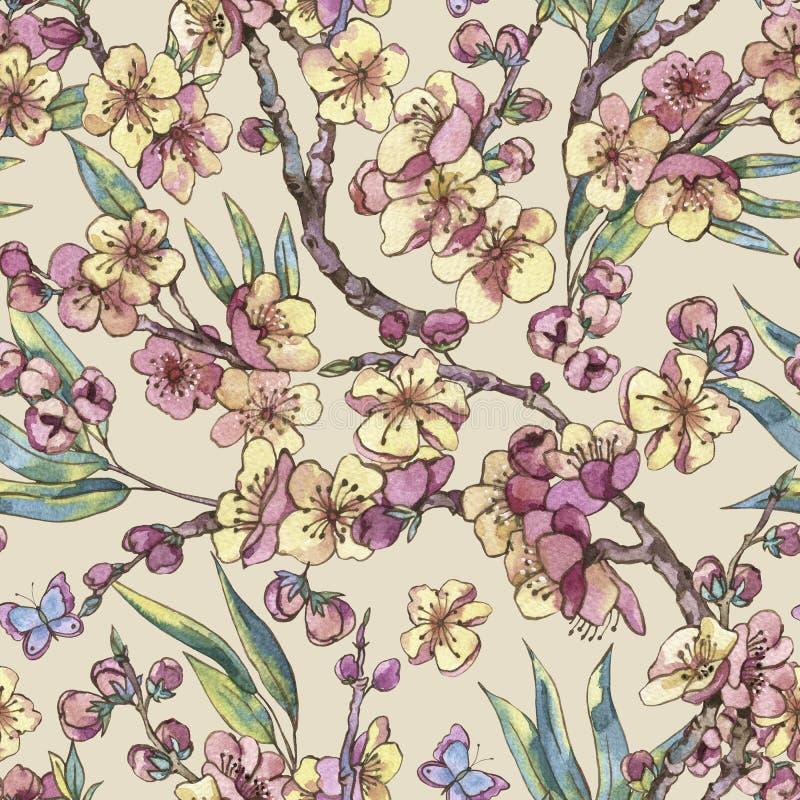 Sömlös träsko för vattenfärgvår, blom- bukett för tappning med b vektor illustrationer