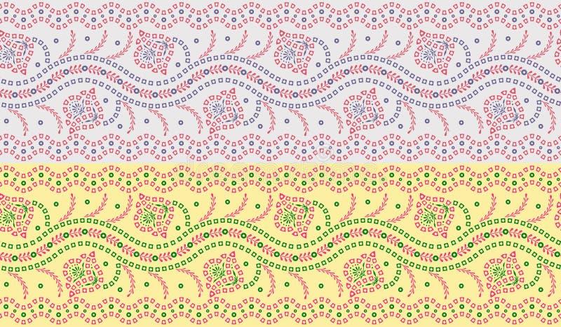Sömlös traditionell bandannagräns stock illustrationer