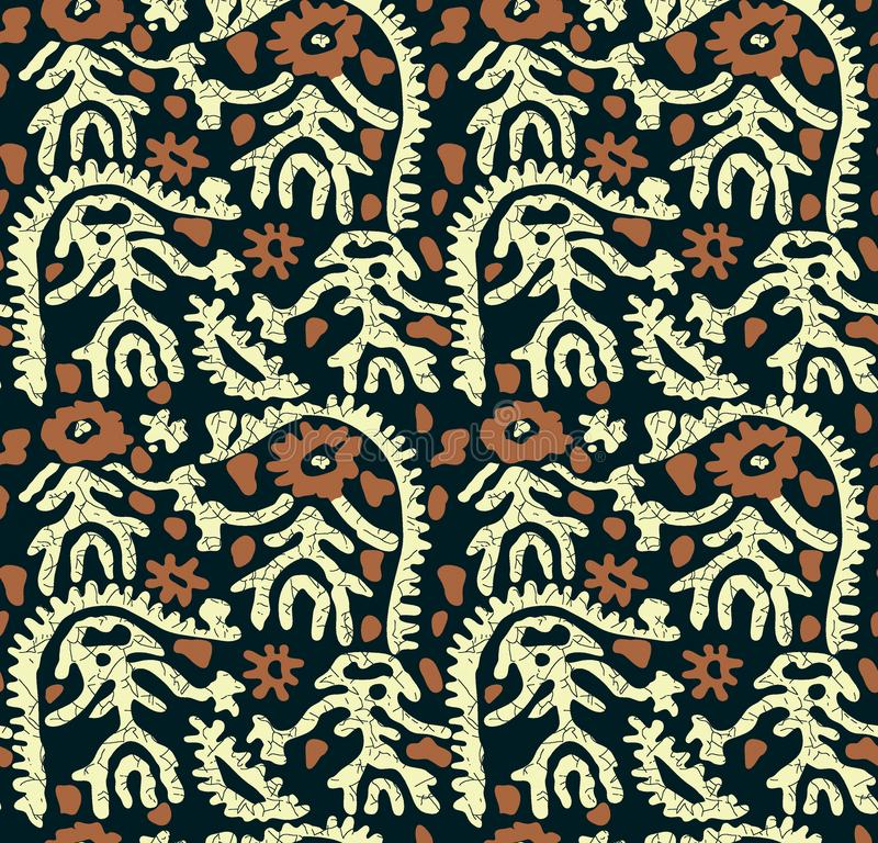 Sömlös traditionell batikdesign stock illustrationer