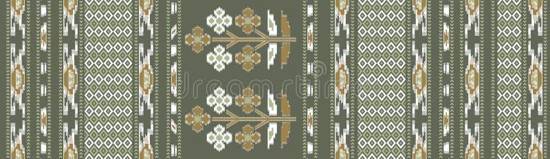 Sömlös traditionell blom- batikbakgrund stock illustrationer