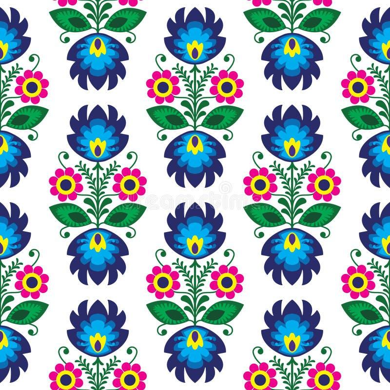 Sömlös traditionell blom- polsk modell - etnisk bakgrund vektor illustrationer
