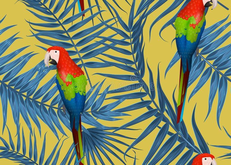 Sömlös tropisk modell, exotisk bakgrund med palmträdfilialer, sidor, blad, palmblad Ändlös textur vektor illustrationer