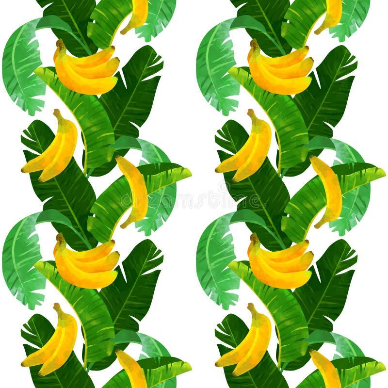 Sömlös tropisk modell med bananer och babanasidor på vit bakgrund royaltyfri bild