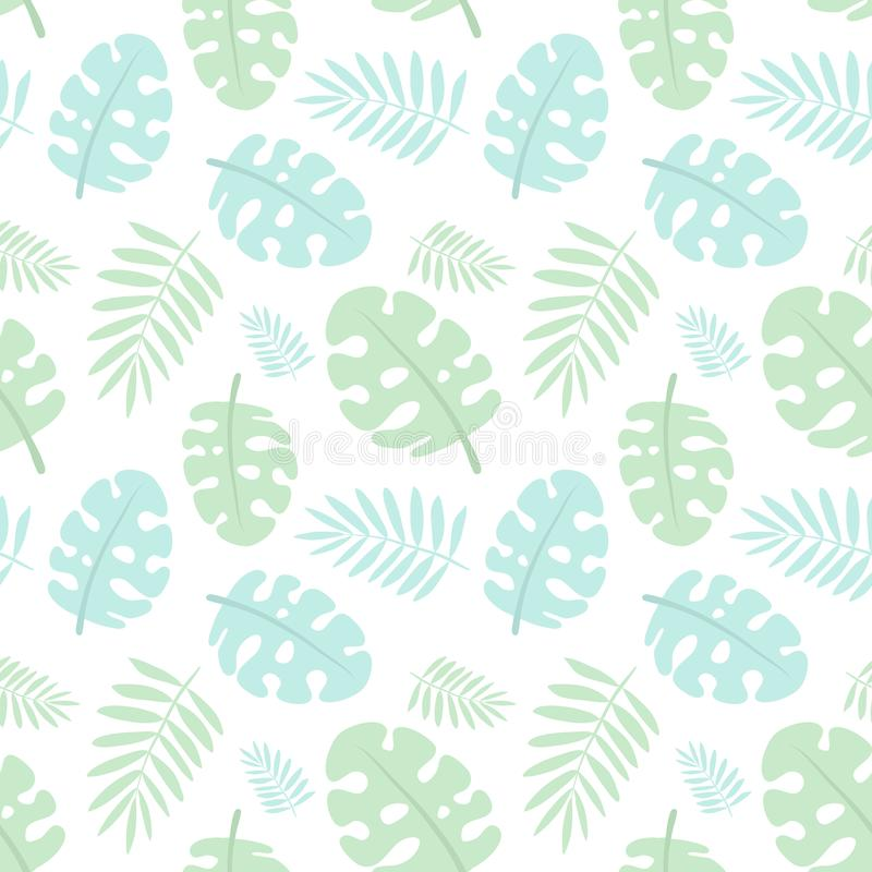 Sömlös tropisk modell med blåa och gröna monsterasidor, palmblad Vektorsommarillustration av en flamingo för ungar, stock illustrationer