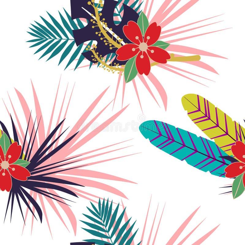 Sömlös tropisk modell med blommor och sidor för färg lösa Växt- design med växter som textur, tyg, kläder Vektor Illust royaltyfri illustrationer
