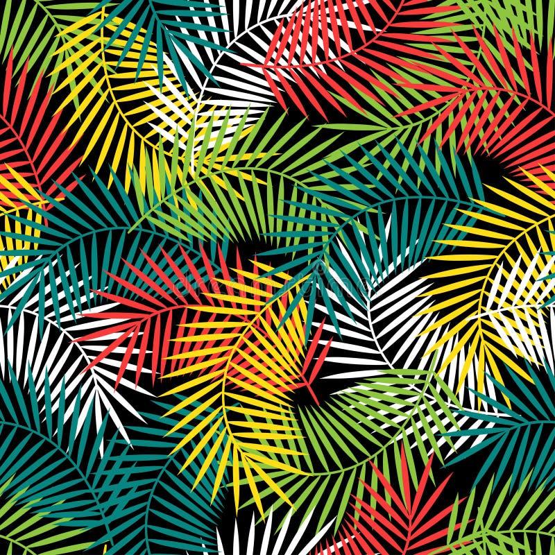Sömlös tropisk modell med den stiliserade kokosnöten stock illustrationer
