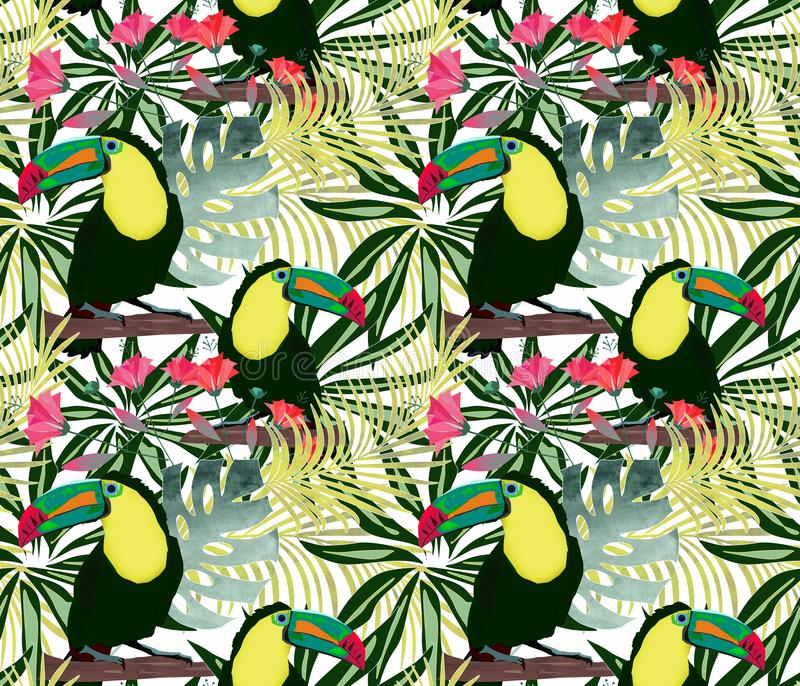 Sömlös tropisk modell med fågeltukan på bakgrunden av blommorna av sidorna royaltyfri illustrationer