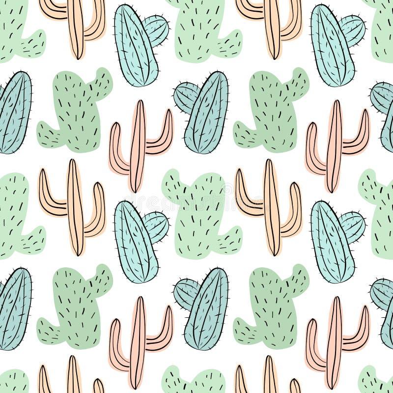 Sömlös tropisk modell med gröna, blåa och gula kakturs Exotisk illustration för vektorsommar av en flamingo och en kaktus för ung royaltyfri illustrationer