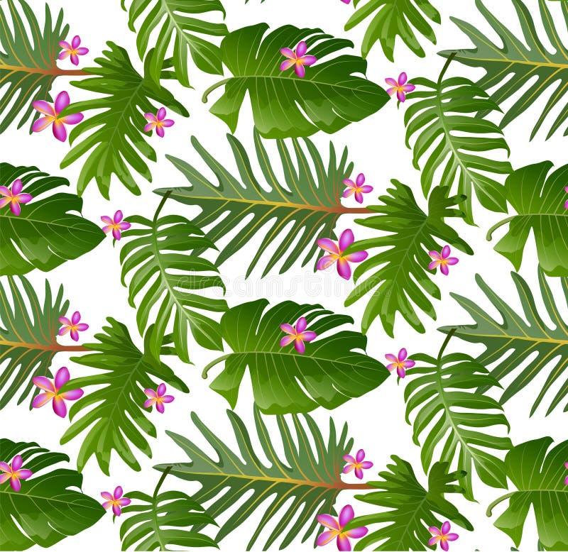 Sömlös tropisk modell med palmblad för tygdesign eller royaltyfri illustrationer