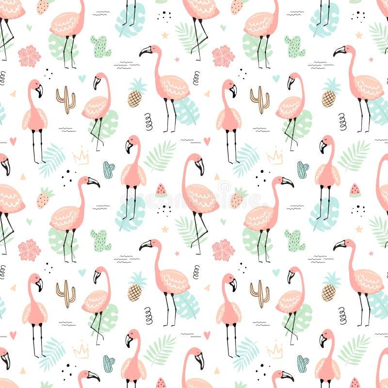 Sömlös tropisk modell med rosa flamingo och sidor, kakturs, frukt, blommor Hand-dragen illustration för vektor sommar av a stock illustrationer