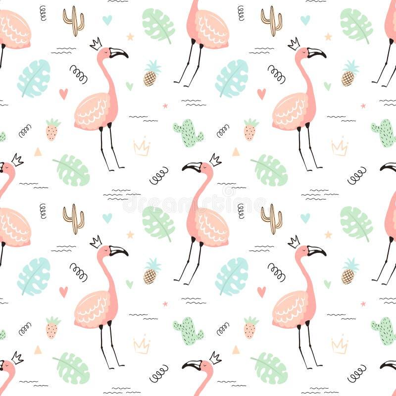 Sömlös tropisk modell med rosa gulliga flamingo och sidor, kakturs, frukt Hand-dragen illustration för vektor sommar av en flamin stock illustrationer
