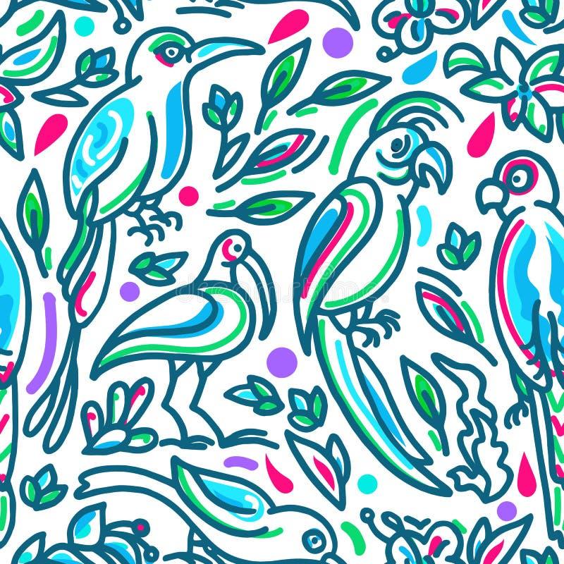 Sömlös tropisk vektormodell Fåglar av paradiset i kulör djungel royaltyfri illustrationer
