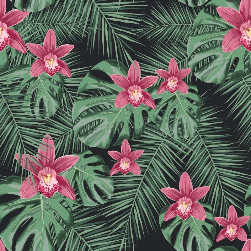 Sömlös tropisk vektormodell med orkidéblommor och exotiska palmblad vektor illustrationer