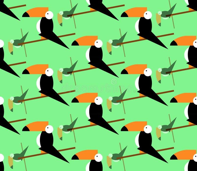 Sömlös tukanmodell tropisk vektor för bakgrund Tukansymbol, tecknad filmillustration av tukanvektorsymbolen för rengöringsduken,  stock illustrationer
