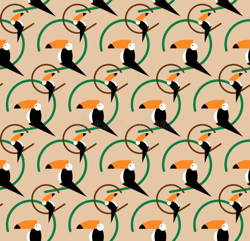Sömlös tukanmodell tropisk vektor för bakgrund Tukansymbol, tecknad filmillustration av tukanvektorsymbolen för rengöringsduken,  royaltyfri illustrationer