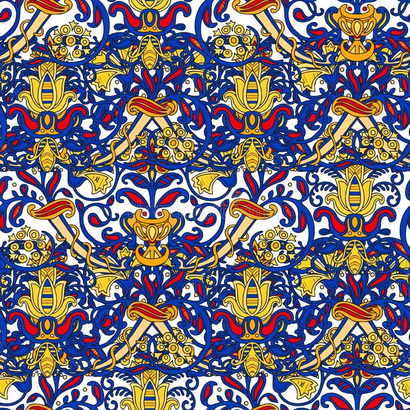 Sömlös turkisk färgrik modell Flerfärgad modell för tappning i östlig stil Den ändlösa blom- modellen kan användas för vektor illustrationer