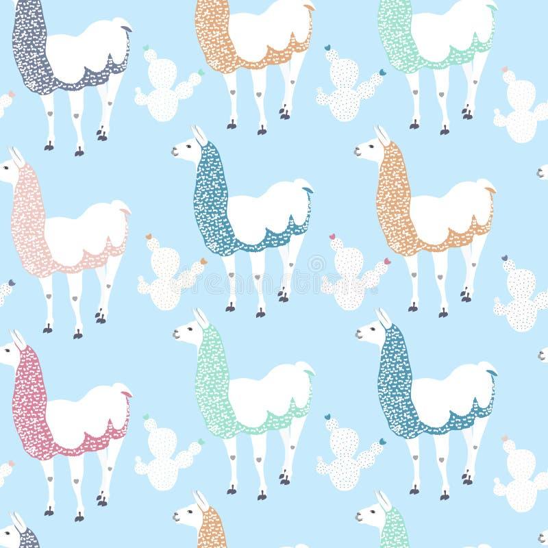 Sömlös ungemodell med den roliga laman och kakturs Gulligt alpacatecknad filmtecken för garneringbarnkammare, bekläda för ungar stock illustrationer