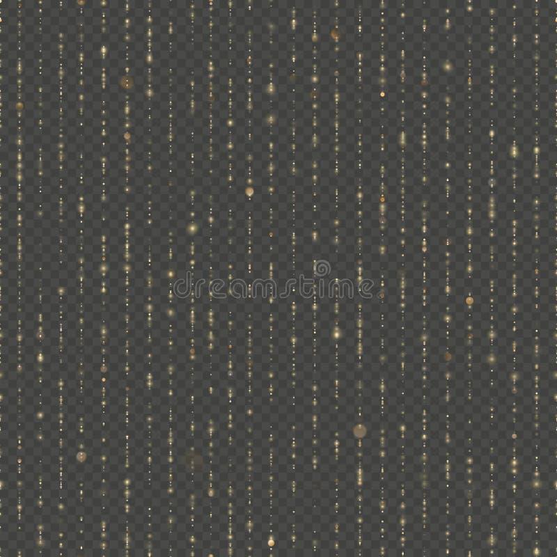 Sömlös unik guld- regnbokeh Moussera linjer av att skimra ljus Blänka trådar Semestra girlandljus eller royaltyfri illustrationer