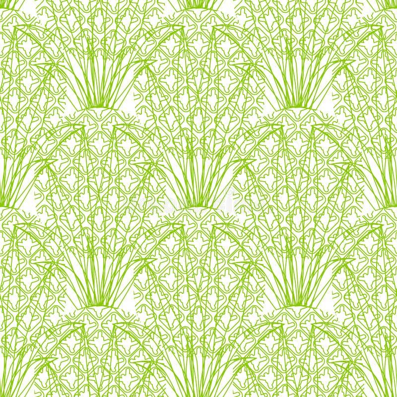 Sömlös upprepande ananasmodell för vektor på royaltyfri illustrationer