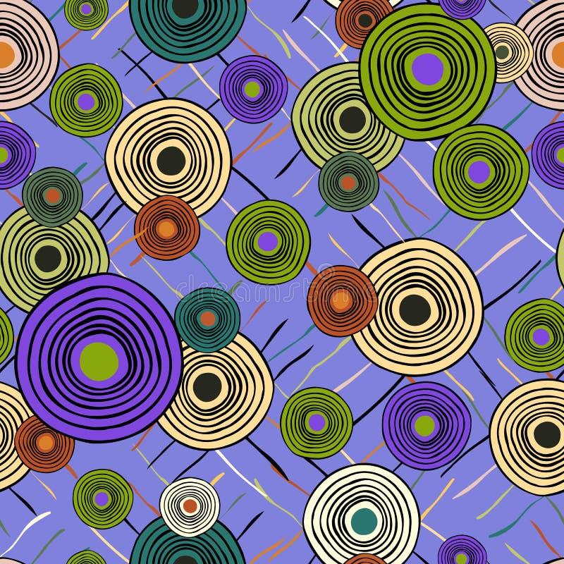 Sömlös upprepande etnisk modell från cirklar och linjer stock illustrationer