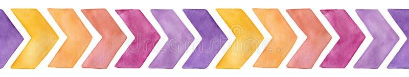 Sömlös upprepande gränsmodell med gulliga vattenfärgsparrepilar av gula olika färger, rosa purpurfärgade variationer vektor illustrationer