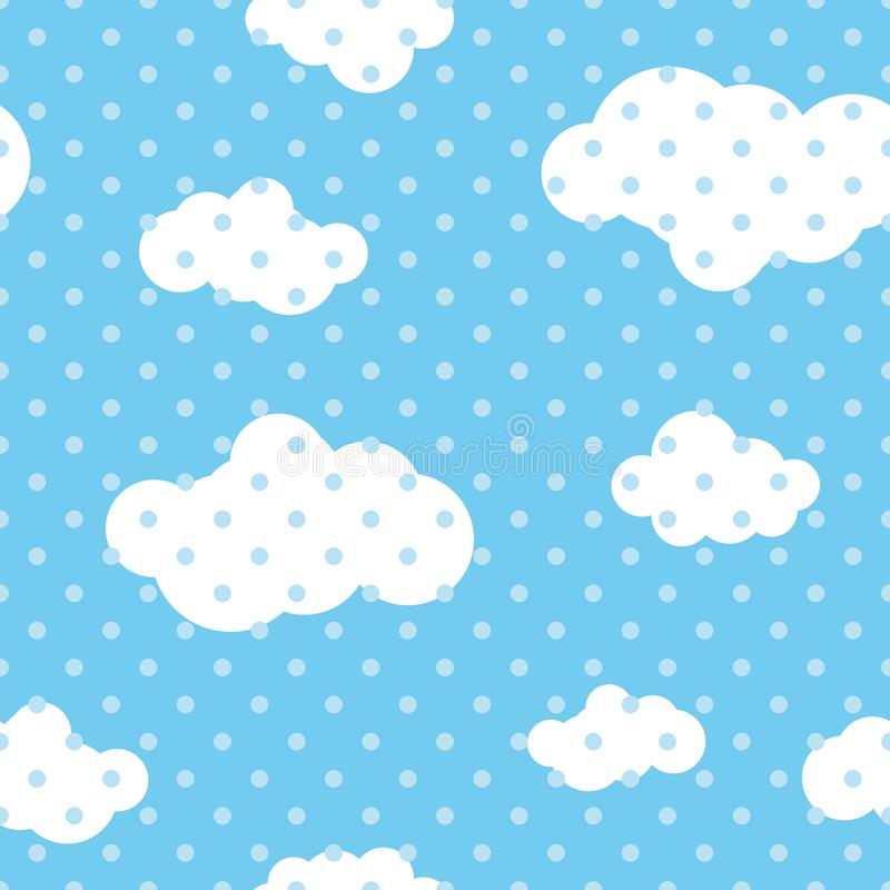 Sömlös upprepande illustration av modellen för barn` s av moln stock illustrationer