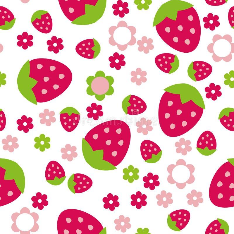 Sömlös upprepande jordgubbe och blommor för modell för illustrationbarn` s stock illustrationer