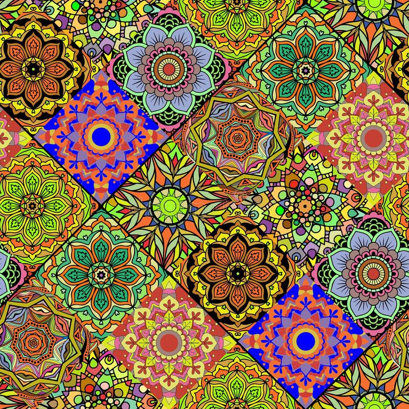 Sömlös upprepande mandalabakgrund stock illustrationer