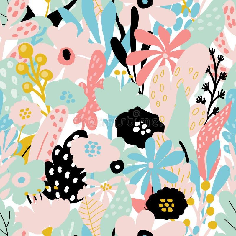Sömlös upprepande modell med blom- beståndsdelar i pastellfärgade färger på vit bakgrund royaltyfri illustrationer
