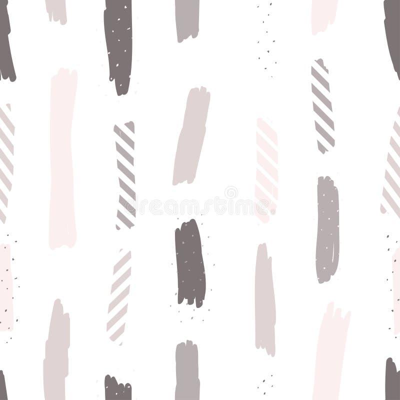 Sömlös upprepande modell med borsteslaglängder i pastellfärgade rosa färger, lilor och pricktextur på vit bakgrund Idérikt och mo royaltyfri illustrationer